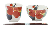 和藍 花かいろう飯碗湯呑山茶花箸付